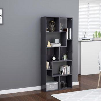 Knjižna omara visok sijaj siva 67x24x161 cm iverna plošča