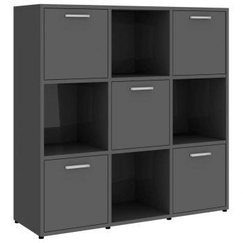 Knjižna omara visok sijaj siva 90x30x90 cm iverna plošča