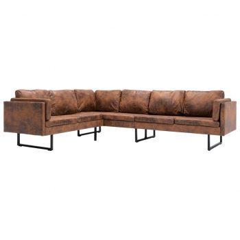 Kotni kavč iz umetnega semiš usnja rjave barve