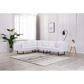 Kotni kavč iz umetnega usnja bele barve