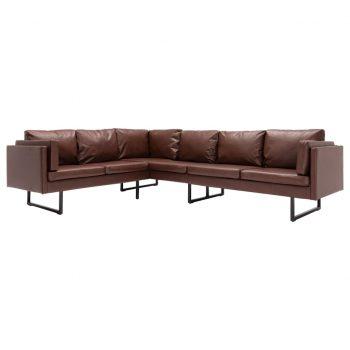 Kotni kavč iz umetnega usnja rjave barve