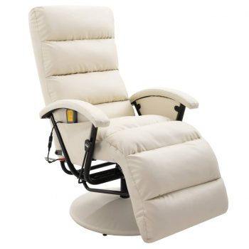 Masažni TV fotelj kremno belo umetno usnje