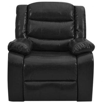 Masažni fotelj črno umetno usnje