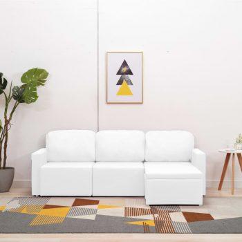 Modularni kavč trosed z ležiščem belo umetno usnje