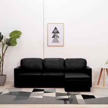 Modularni kavč trosed z ležiščem črno umetno usnje