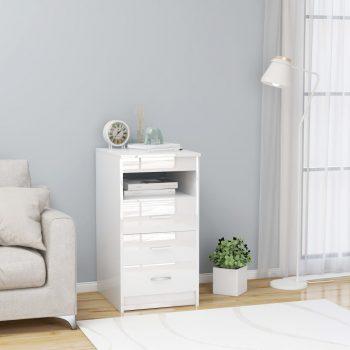 Omarica s predali visok sijaj bela 40x50x76 cm iverna plošča
