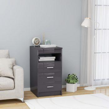 Omarica s predali visok sijaj siva 40x50x76 cm iverna plošča