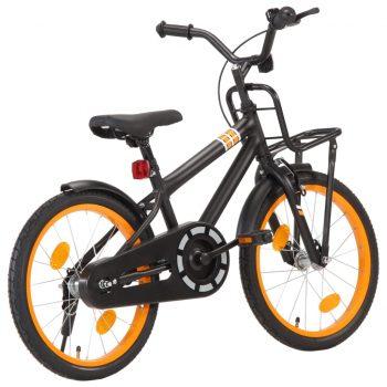 """Otroško kolo s prednjim prtljažnikom 18"""" črno in oranžno"""