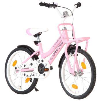 """Otroško kolo s prednjim prtljažnikom 18"""" roza in črno"""