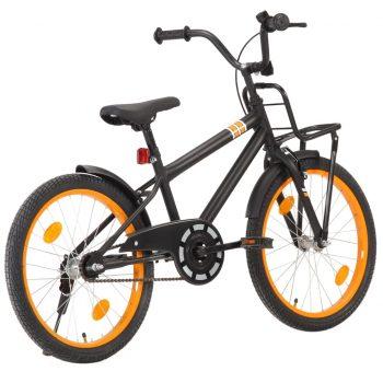 """Otroško kolo s prednjim prtljažnikom 20"""" črno in oranžno"""