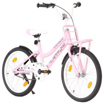 """Otroško kolo s prednjim prtljažnikom 20"""" roza in črno"""