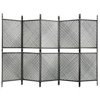 Paravan 5-delni iz poli ratana antraciten 300x200 cm