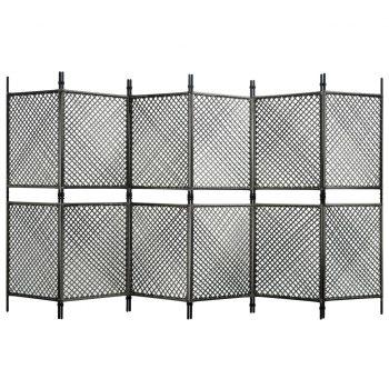 Paravan 6-delni iz poli ratana antraciten 360x200 cm
