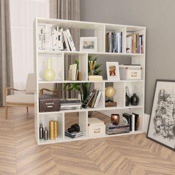 Paravan/omara visok sijaj bela 110x24x110 cm iverna plošča