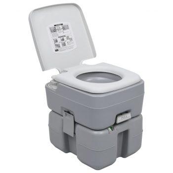 Prenosno stranišče za kamping sivo 20+10 L