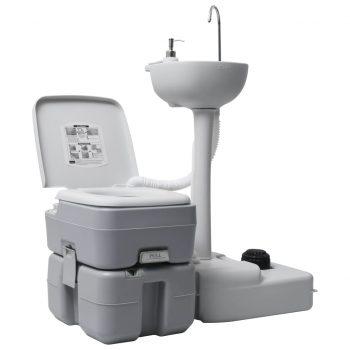 Prenosno stranišče za kampiranje z umivalnikom na stojalu sivo