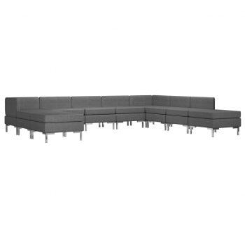 Sedežna garnitura 10-delna blago temno siva