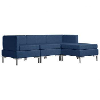 Sedežna garnitura 4-delna iz blaga modra