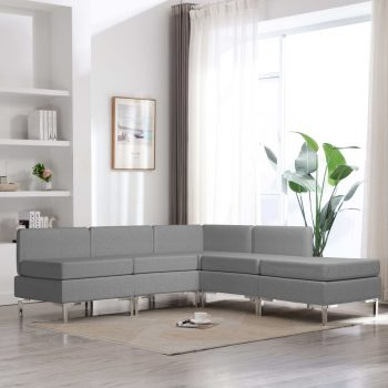 Sedežna garnitura 5-delna blago svetlo siva