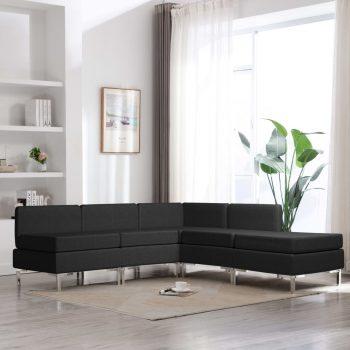 Sedežna garnitura 5-delna iz blaga črna