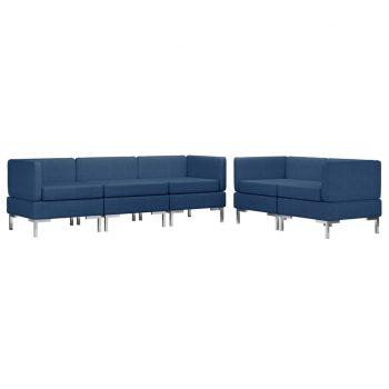 Sedežna garnitura 5-delna iz blaga modra