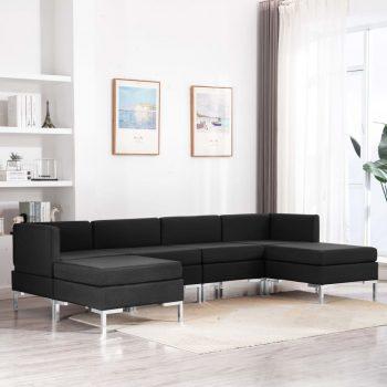 Sedežna garnitura 6-delna blago črna