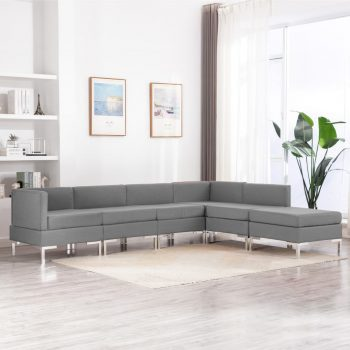 Sedežna garnitura 6-delna blago svetlo siva