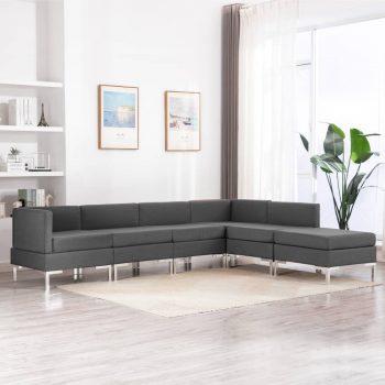 Sedežna garnitura 6-delna blago temno siva