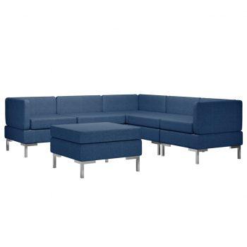 Sedežna garnitura 6-delna iz blaga modra