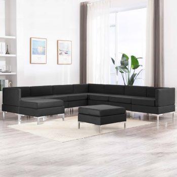 Sedežna garnitura 9-delna iz blaga črna