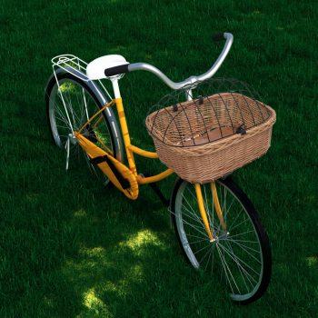 Sprednja kolesarska košara s pokrovom 50x45x35 cm naravna vrba