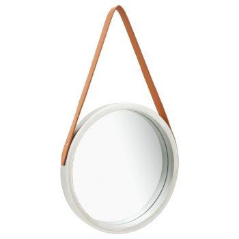Stensko ogledalo s pasom 40 cm srebrno