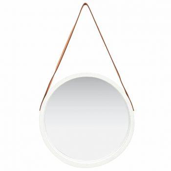 Stensko ogledalo s pasom 50 cm belo