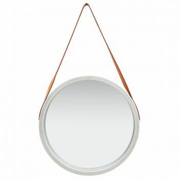 Stensko ogledalo s pasom 50 cm srebrno