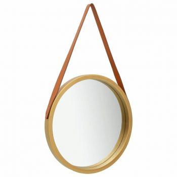 Stensko ogledalo s pasom 50 cm zlato