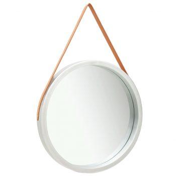 Stensko ogledalo s pasom 60 cm srebrno