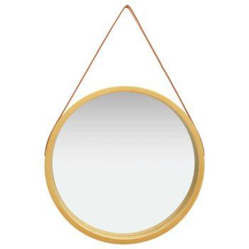 Stensko ogledalo s pasom 60 cm zlato