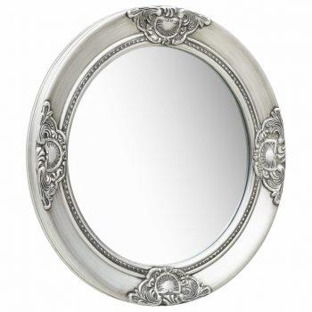 Stensko ogledalo v baročnem stilu 50 cm srebrno