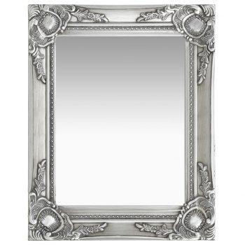 Stensko ogledalo v baročnem stilu 50x40 cm srebrno