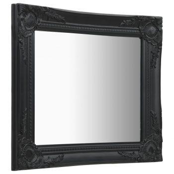 Stensko ogledalo v baročnem stilu 50x50 cm črno