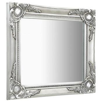 Stensko ogledalo v baročnem stilu 50x50 cm srebrno