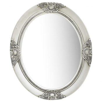 Stensko ogledalo v baročnem stilu 50x60 cm srebrno