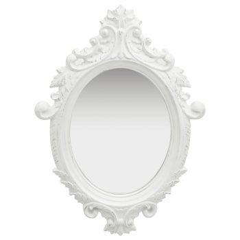 Stensko ogledalo v grajskem stilu 56x76 cm belo