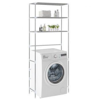 Stojalo za nad pralni stroj 3-nadstropno srebrno 69x28x169 cm