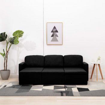 Trosed modularni kavč z ležiščem črn iz blaga