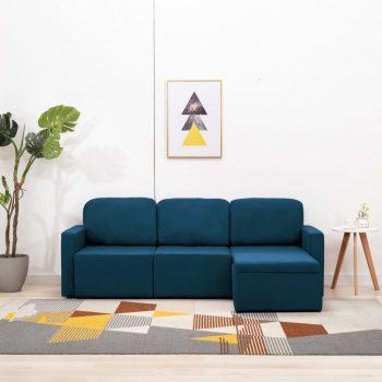 Trosed modularni kavč z ležiščem moder iz blaga