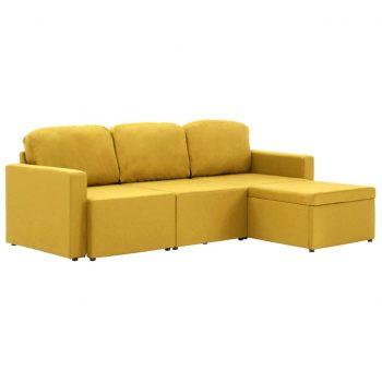 Trosed modularni kavč z ležiščem rumen iz blaga