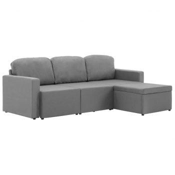 Trosed modularni kavč z ležiščem svetlo siv iz blaga