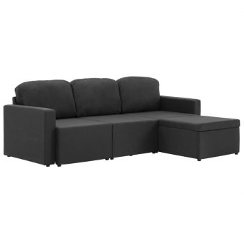 Trosed modularni kavč z ležiščem temno siv iz blaga