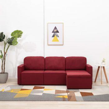 Trosed modularni kavč z ležiščem vinsko rdeč iz blaga